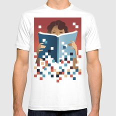 Print to Pixels MEDIUM White Mens Fitted Tee