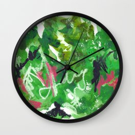 Green Abstract Mixed-Media: Nature Wall Clock