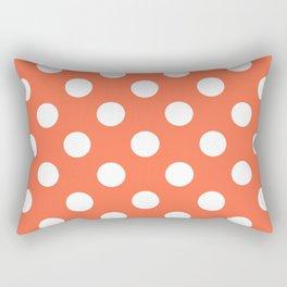 Outrageous Orange - pink - White Polka Dots - Pois Pattern Rectangular Pillow