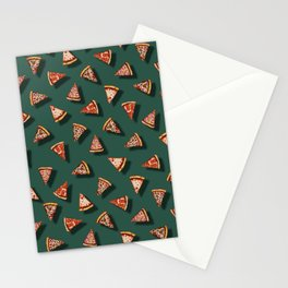 Pizza Party Pattern - Floating Pizza Slices on Teal Stationery Cards