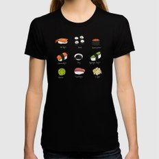 Sushi Days two SMALL Black Womens Fitted Tee