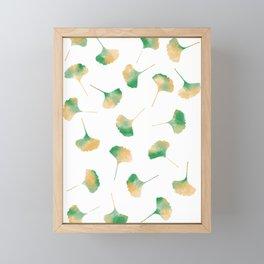 Ginkgo biloba leaves white Framed Mini Art Print