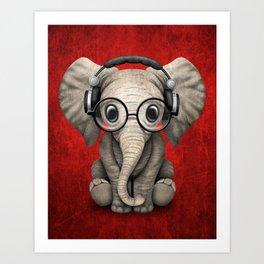 Cute Baby Elephant Dj Wearing Headphones and Glasses on Red Art Print