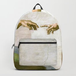 The Creation of Adam Painting by Michelangelo Sistine Chapel Backpack