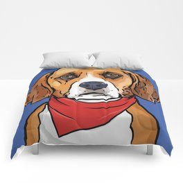 Beagle Art Poster Dog Icon Series by Artist A.Ramos. Designed in Bold Colors Comforters
