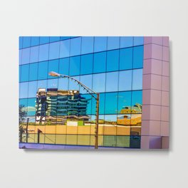 Mirrored Reflections of Distorted Buildings. Metal Print