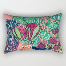 Cluster of Houseplants and Proteas on Pink Still Life Painting Rectangular Pillow