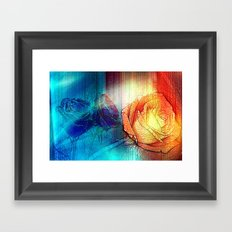 Misty Roses Of Orange And Blue By Annie Zeno Framed Art Print