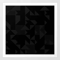 Random Triangles Greyscale Art Print