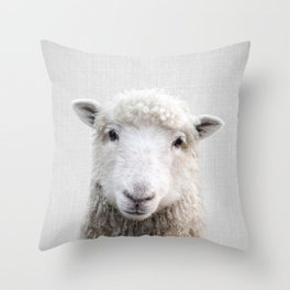 Sheep - Colorful Throw Pillow