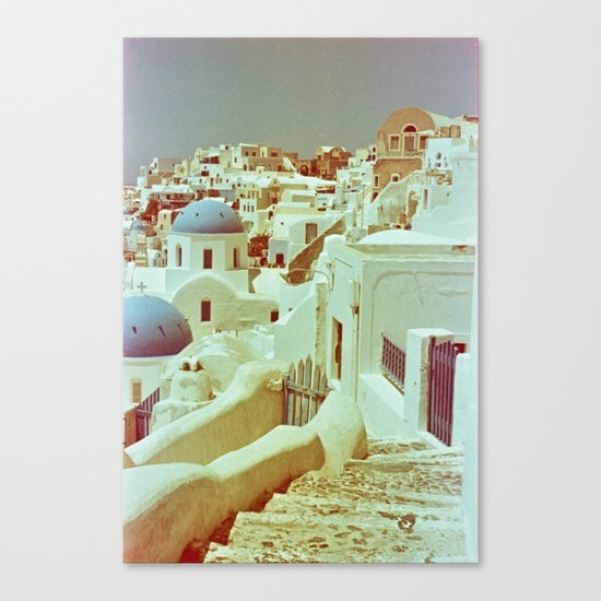 Santorini in Raspberry and Blue II: shot using Revolog 600nm special effects film Canvas Print
