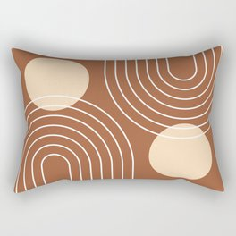 Mid Century Modern Geometric 84 in Beige and Terracotta (Rainbow and Sun Abstraction) Rectangular Pillow