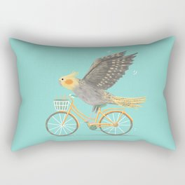 Cockatiel on a Bicycle Rectangular Pillow