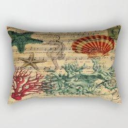 french botanical art music notes starfish seashell Rectangular Pillow