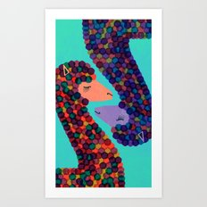 Alpacas in Love Art Print