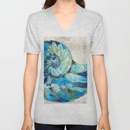 Tropical Blue Beach Art - Nautilus Shell Bleu 2 - Sharon Cummings Unisex V-Neck