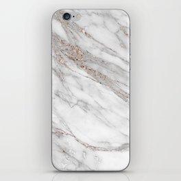 Pink Rose Gold Blush Metallic Glitter Foil on Gray Marble iPhone Skin