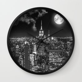 New York Under the Moon Wall Clock
