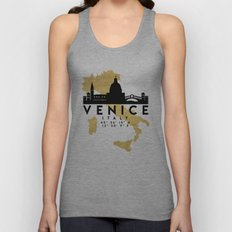 VENICE ITALY SILHOUETTE SKYLINE MAP ART Unisex Tank Top