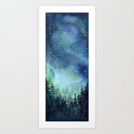 Galaxy Watercolor Aurora Borealis Painting Art Print