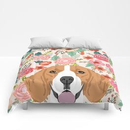 Beagle florals cute spring pet portrait dog lover gift idea beagle owners must haves flower power Comforters