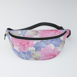 Pink Glads Blue Iris Flowers Large Fanny Pack