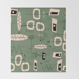 Mid-Century Atomic Green Abstract Throw Blanket