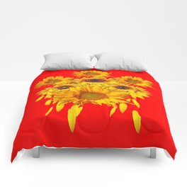 Decorative Red Sunflowers Art Abstract Comforters