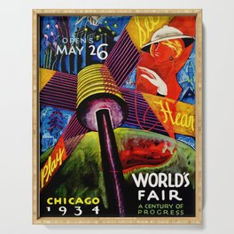 Retro 1934 Chicago World's Fair Travel Poster Serving Tray