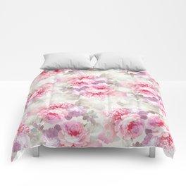 Elegant blush pink lavender ivory romantic roses floral Comforters