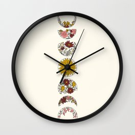 Floral Phases of the Moon Wall Clock