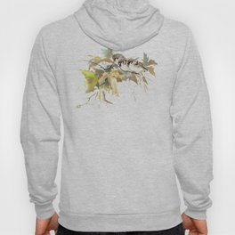 Sparrows and Fall Tree, three birds, brown green fall colors Hoody