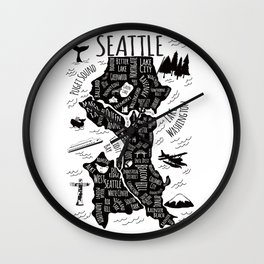 Seattle Illustrated Map in Black and White - Single Print Wall Clock