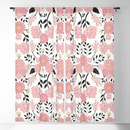 Pink, White, Black, Blue & Yellow Elegant Floral Pattern Blackout Curtain