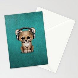 Cute Lion Cub Dj Wearing Headphones on Blue Stationery Cards