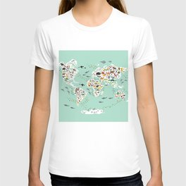 Cartoon animal world map for children, kids, Animals from all over the world, back to school, mint T-Shirt
