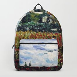 Women Gathering Red Poppies in Northwest Paris, France commune, Vétheuil by Claude Monet Backpack