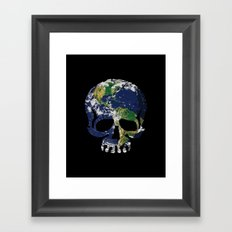 Skull Earth Framed Art Print