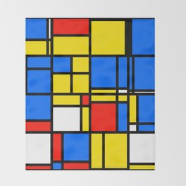 Mondrian Style Throw Blanket