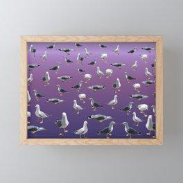 Seagulls on ultra violet background Framed Mini Art Print