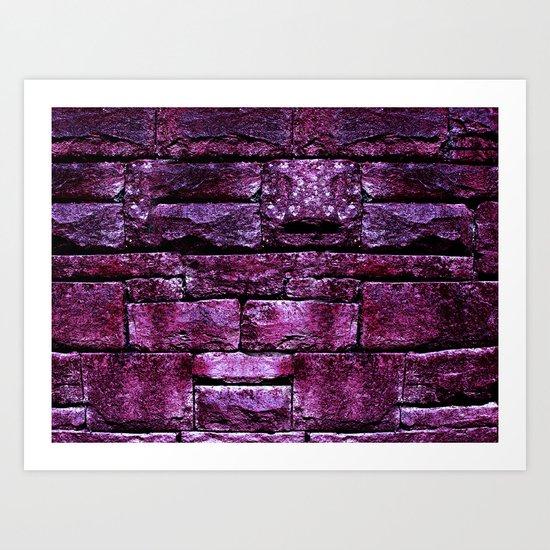 purple stone wall IV Art Print