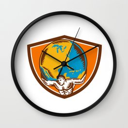 Atlas Carrying Globe Crest Woodcut Wall Clock