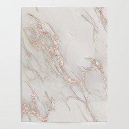 Marble Rose Gold Blush Pink Metallic by Nature Magick Poster