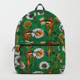 Bee eaters on a spring meadow    Backpack