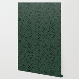 Cheetah Spots animal print minimal wild cat speckles and dots Forest Green Wallpaper