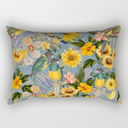 Vintage & Shabby Chic - Tropical Flower Jungle with Parrots Rectangular Pillow