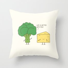 Broccoli and cheese Throw Pillow