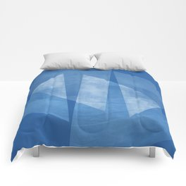 Blue & White Geometric Mid Century Modern Abstract Comforters