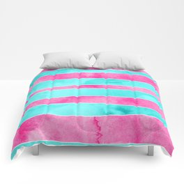 Turquoise pink hand drawn watercolor stripes Comforters