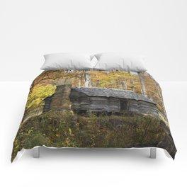 Smoky Mountain Rural Rustic Cabin Autumn View Comforters